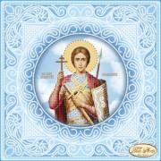 Схема вышивки бисером на атласе Святой Великомученик Димитрий (Дмитрий) Солунский