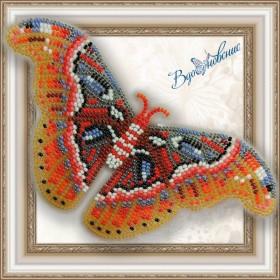 Набор для вышивки бисером на прозрачной основе Бабочка Павлиноглазка Атлас