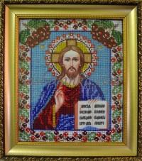 Рисунок на габардине для вышивки бисером Иисус Вишиванка А4-074