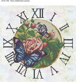 Схема для вышивки бисером на габардине Часы Бабочки и Розы, , 70.00грн., А3-К-146, Acorns, Цветы