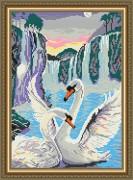Набор для выкладки алмазной мозаикой Лебеди у водопада