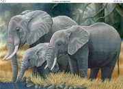 Схема для вышивки бисером на габардине Слоны на водопое