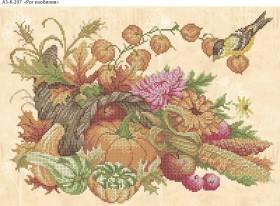 Схема для вышивки бисером на габардине Рог изобилия, , 70.00грн., А3-К-297, Acorns, Пейзажи и натюрморты