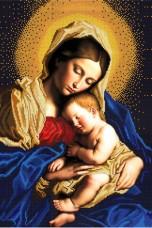 Схема вышивки бисером на габардине Мадонна з немовлям Biser-Art 40х60-3002