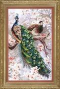 Набор для вышивки крестом два павлина в цветущей магнолии