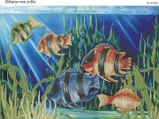 Схема для вышивки бисером на габардине Аквариумные рыбки