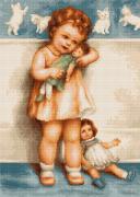 Набор для вышивки крестом Девочка с куклой