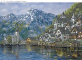 Схема для вышивки бисером на габардине Австрия. Сказочный городок Гальштат Acorns А2-К-519 - 144.00грн.