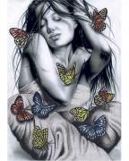 Схема вишивкі бісером на габардині Дівчина з метеликами