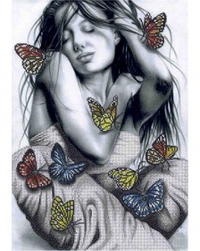 Схема вишивкі бісером на габардині Дівчина з метеликами Acorns А3-К-605 - 70.00грн.