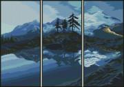 Схема вышивки бисером на габардине Триптих Пейзаж
