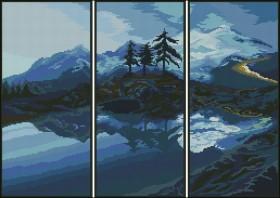 Схема вышивки бисером на габардине Триптих Пейзаж Эдельвейс ТС-04 - 150.00грн.