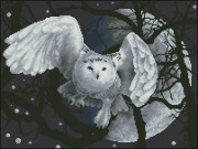 Схема вышивки бисером на атласе Місячна сова