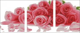 Схема вышивки бисером на габардине Триптих Розы Эдельвейс ТС3-09 - 180.00грн.