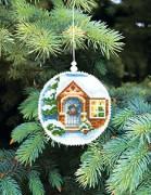 Набор для вышивки нитками Новогодняя игрушка Подарков в дом