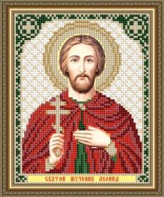 Схема вышивки бисером на авторской канве Святой Мученик Леонид