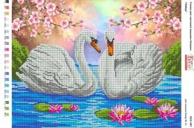 Схема для вышивки бисером на габардине Лебеди