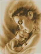 Схема вышивки бисером на габардине Материнська любов