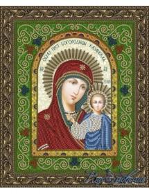 Схема для вышивки бисером на атласе Икона Образ Пресвятой Богородицы Казанская
