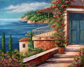 Набор для выкладки алмазной мозаикой Дом на берегу моря Алмазная мозаика DM-074 - 640.00грн.