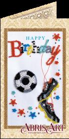 Набор-открытка для вышивки бисером Моему футболисту, , 74.00грн., АО-144, Абрис Арт, Открытки, магниты