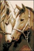 Схема вышивки бисером на габардине Лошади