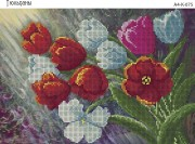 Схема для вышивки бисером на габардине Тюльпаны