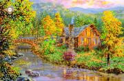 Схема для вышивки бисером на атласе Золотая осень