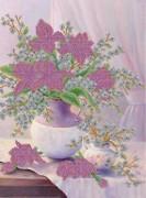 Схема вышивки бисером на атласе Нежные цветы