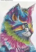 Схема для вышивки бисером на габардине Радужный котенок