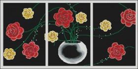 Схема вышивки бисером на габардине Триптих Цветы Эдельвейс ТС3-01 - 180.00грн.