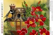 Рисунок на габардине для вышивки бисером Казковий будиночок для птаха