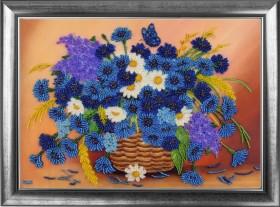 Набор для вышивки бисером Корзинка с васильками