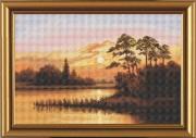 Набор для вышивки крестом Закат над озером