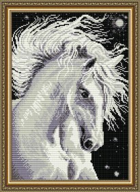 Набор для выкладки алмазной мозаикой Лошадь белая