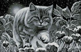 Схема вышивки бисером на габардине Нічний кіт