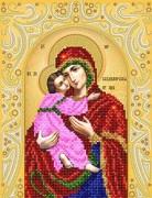 Схема для вышивки бисером на атласе Владимирская икона Божьей матери