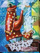 Набор для вышивки бисером на холст Сервиз в горошек