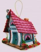 Набор для изготовления игрушки из фетра для вышивки бисером Домик счастья
