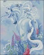 Схема вышивки бисером на габардине Единорог