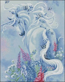 Схема вышивки бисером на атласе Единорог