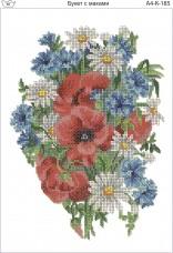 Схема для вышивки бисером на габардине Букет с маками Acorns А4-К-185