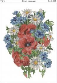 Схема для вышивки бисером на габардине Букет с маками