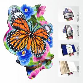 Подставка под телефон с алмазной мозаикой Бабочка и Анютины глазки