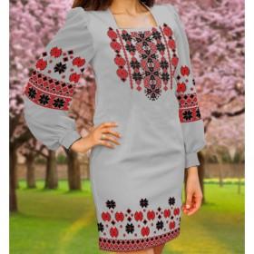 Заготовка женского платья на сером габардине Biser-Art Bis6046 серый габардин - 435.00грн.