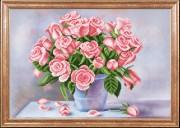 Схема для вышивки бисером на габардине Ароматные розы