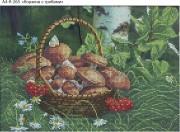 Схема для вышивки бисером на габардине Корзинка с грибами
