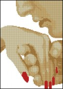 Схема вышивки бисером на атласе Поцелуй в руку