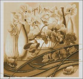 Схема вышивки бисером на габардине Натюрморт орхідей