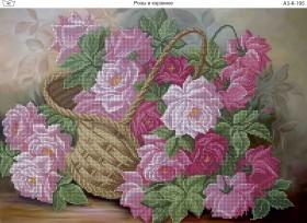 Схема для вышивки бисером на габардине Розы в корзинке, , 70.00грн., А3-К-195, Acorns, Цветы